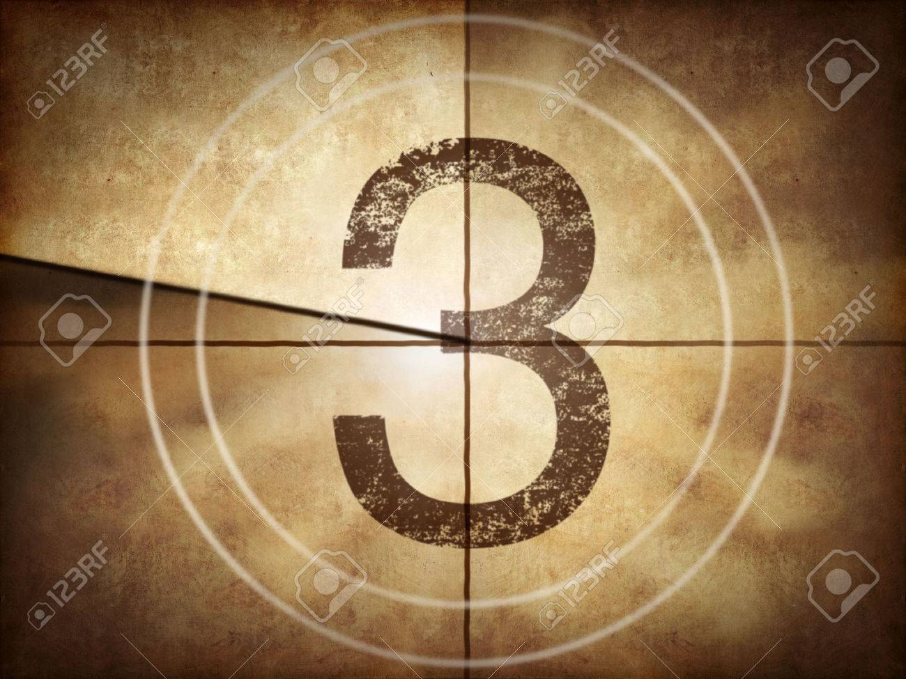 Old movie countdown with number 3 Stock Photo - 34710859