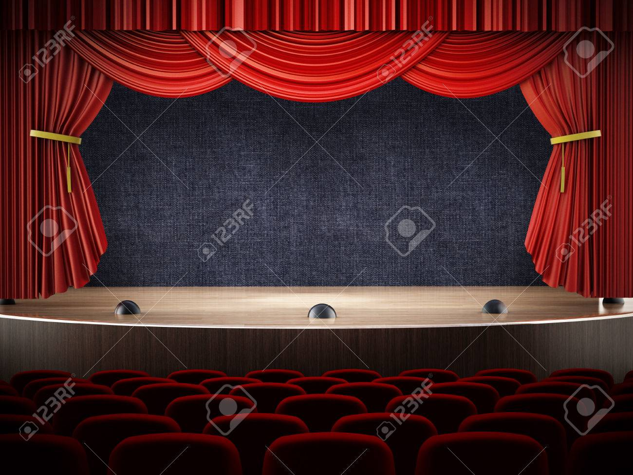 Movie theater with open curtains. Stock Photo - 34891770