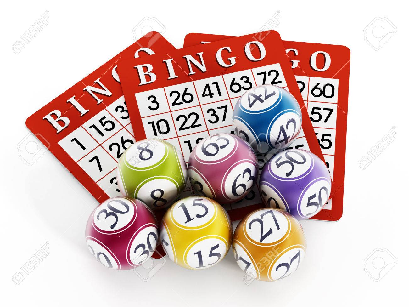 Bingo balls and cards isolated on white background. Stock Photo - 35148845