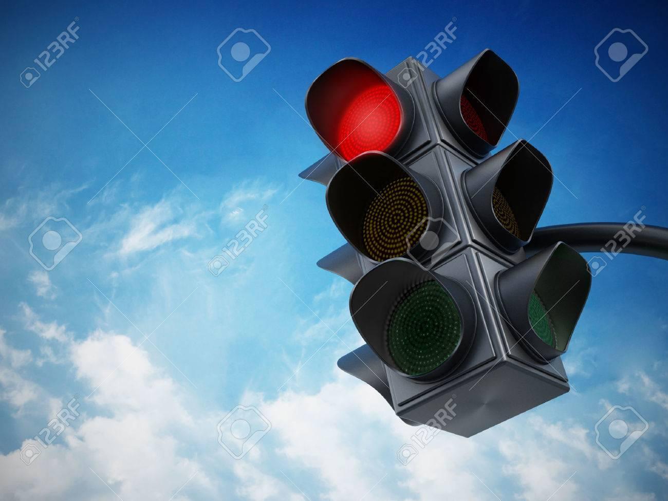 Green traffic light against blue sky. Stock Photo - 36024052