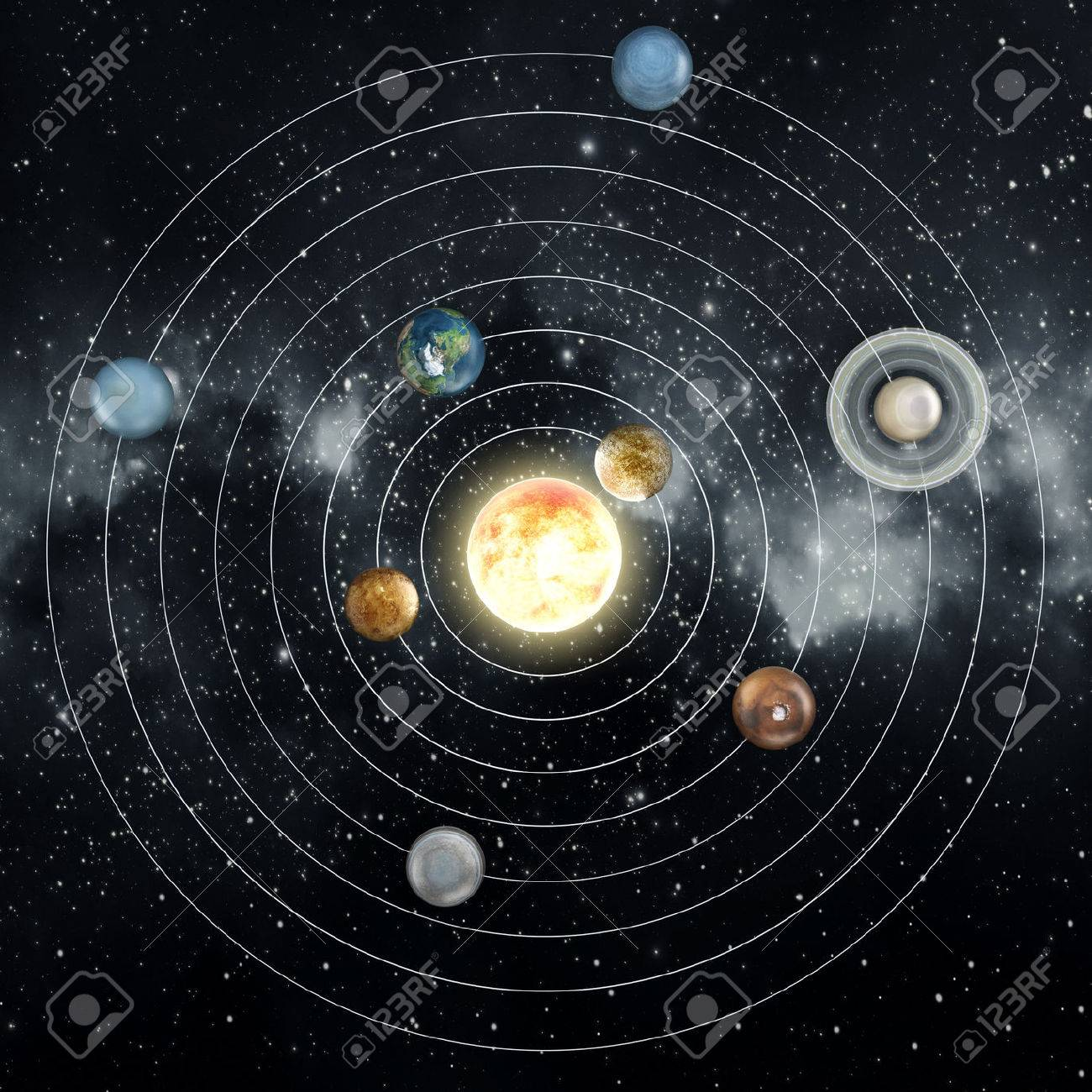 Solar system diagram in the space. Stock Photo - 36751557