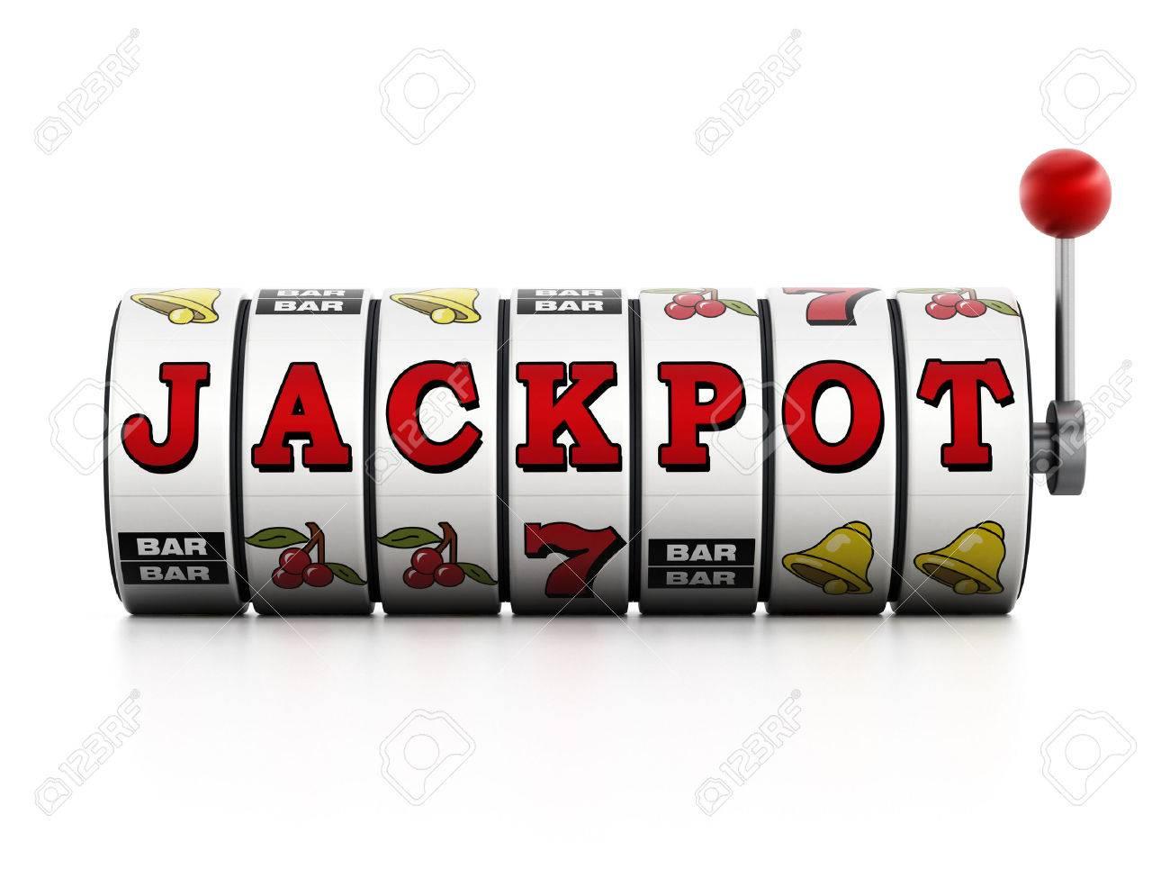 Slot machine showing jackpot word isolated on white background Stock Photo - 37936286