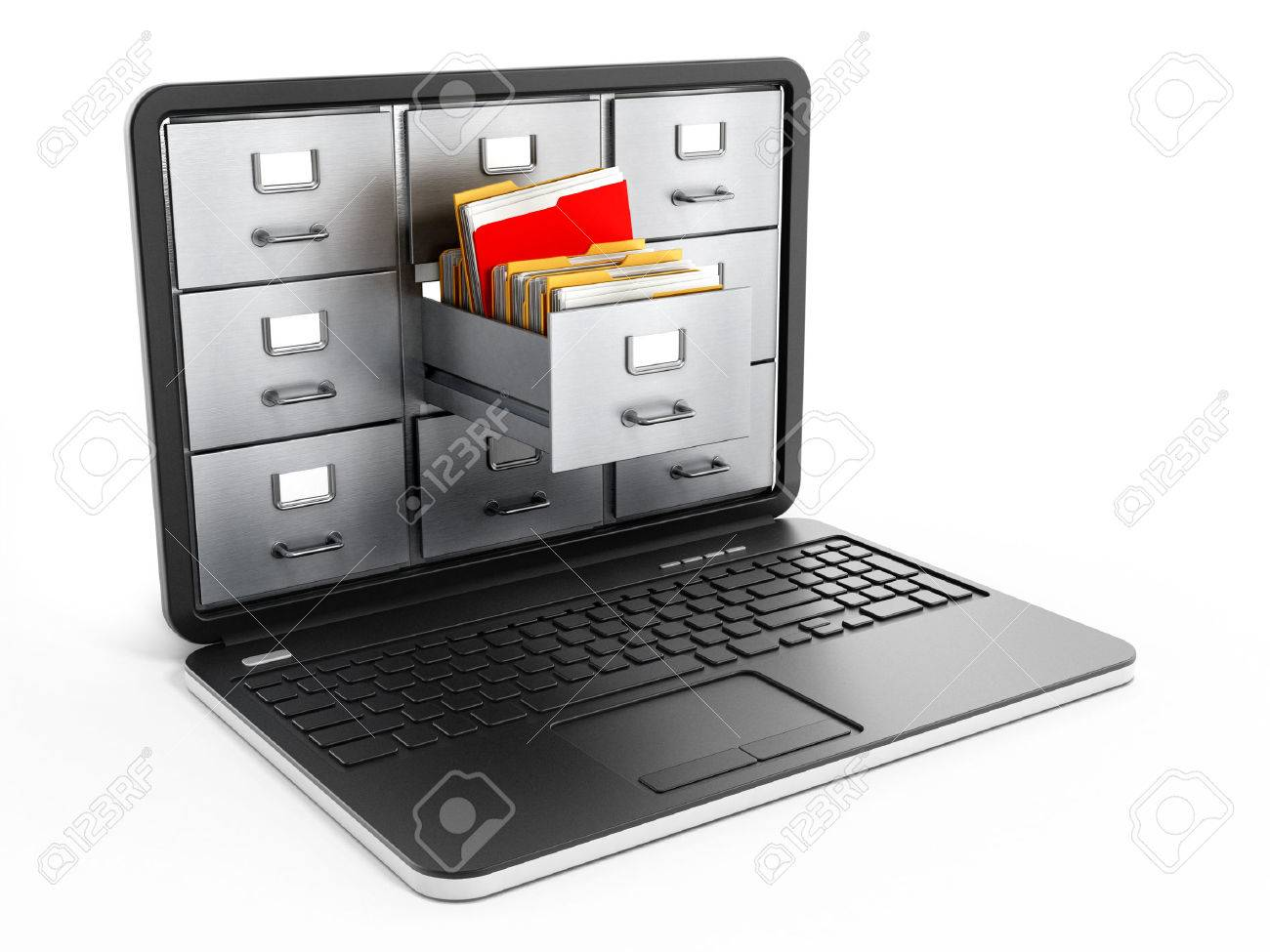 File cabinets inside the screen of laptop computer Stock Photo - 38705557