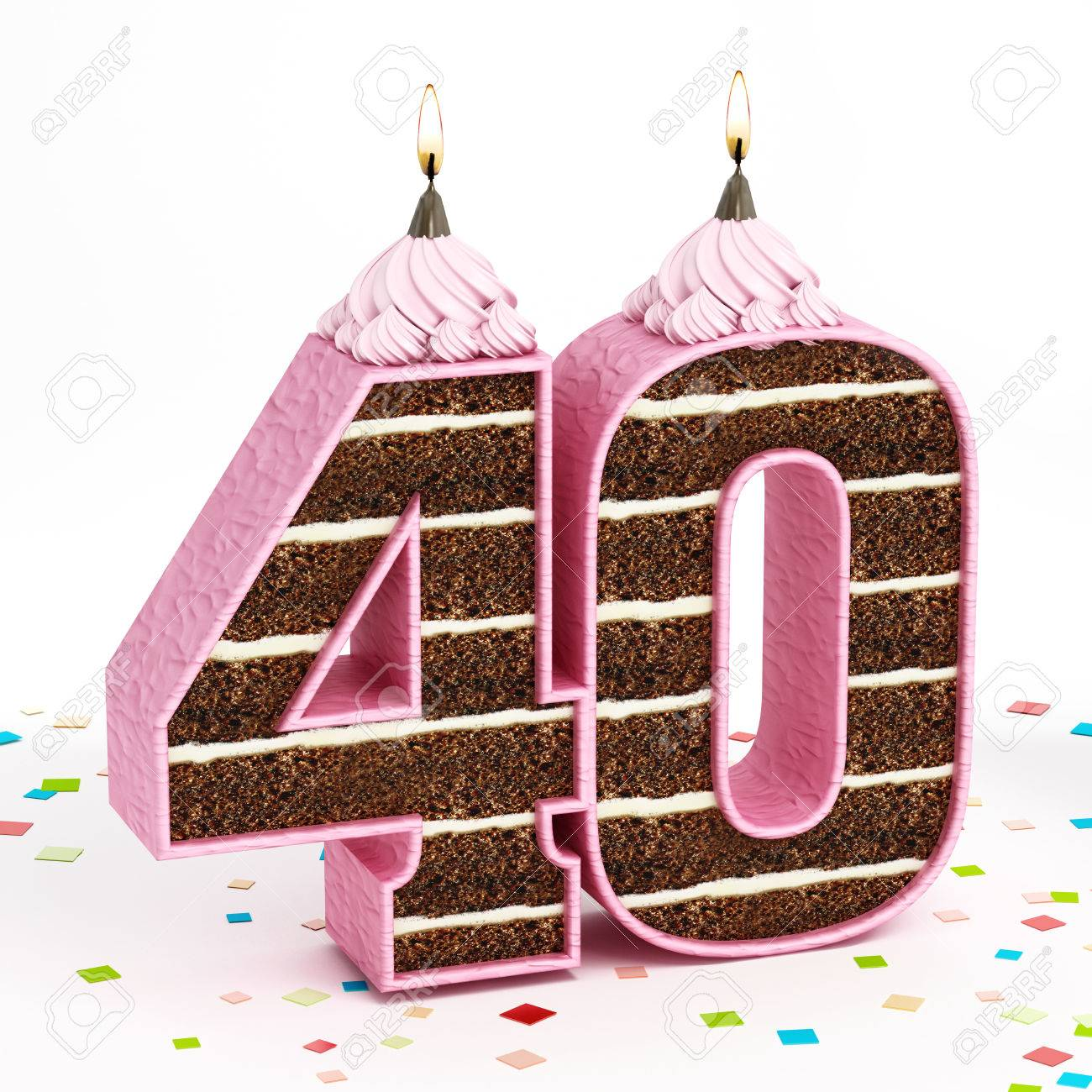 Number 40 Shaped Chocolate Birthday Cake With Lit Candle Isolated On White Background Stock Photo