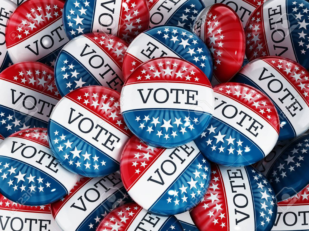 Vote buttons stack with red and blue colors Stock Photo - 39498728