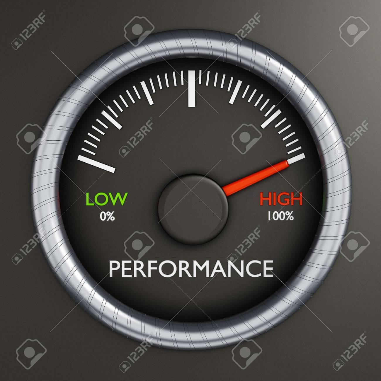 Performance meter indicates high performance Stock Photo - 40058619