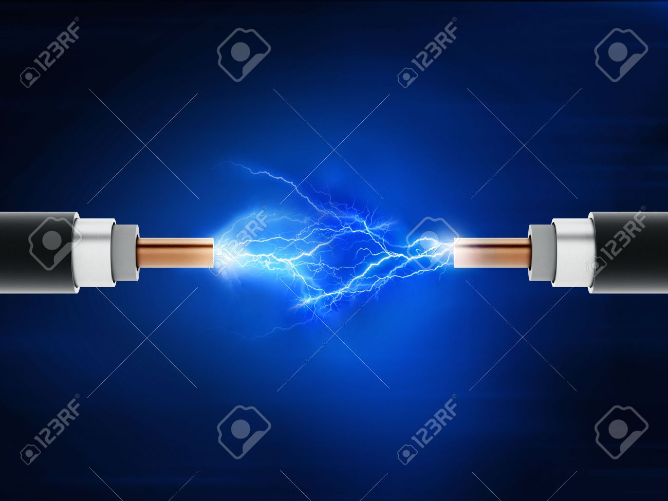 Power cables with sparkles on blue background Stock Photo - 40800655