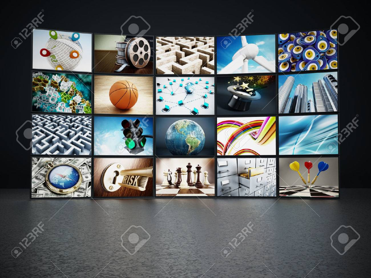 Video wall containing images from my portfolio. Stock Photo - 40917889