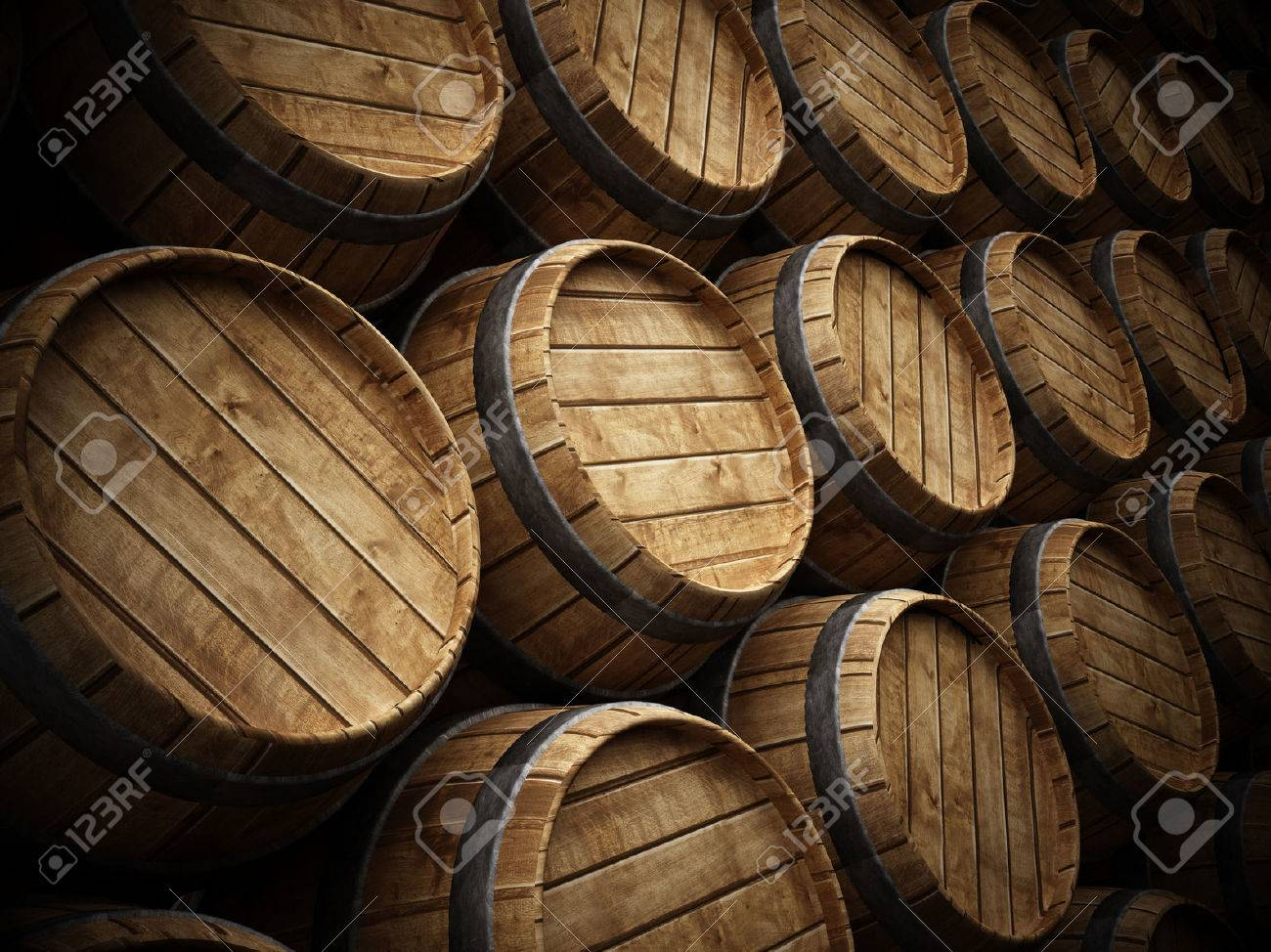 Wine cellar with stack of wooden barrels Stock Photo - 42177701