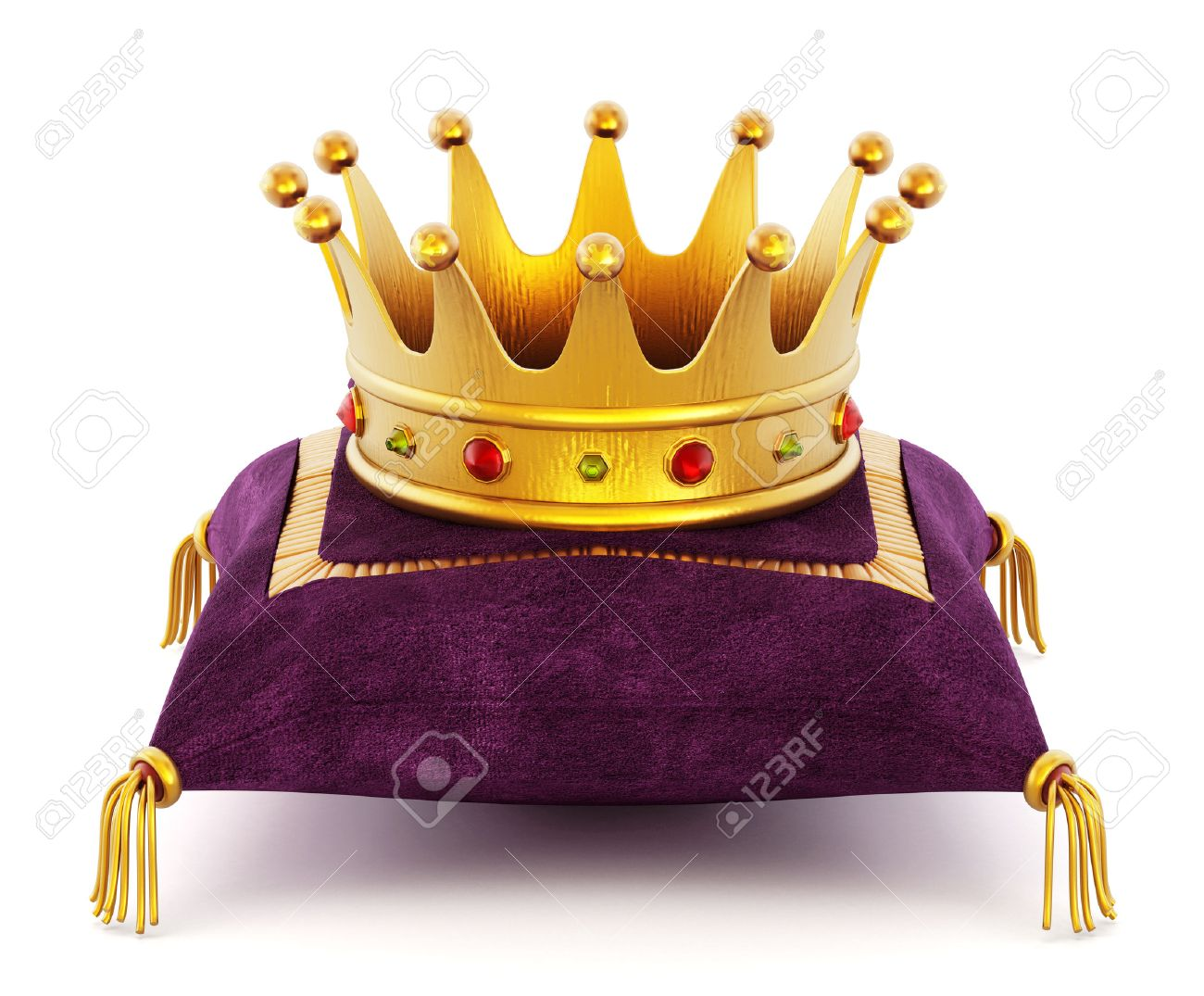 Gold Crown on the purple pillow isolated on white background Stock Photo - 42541165