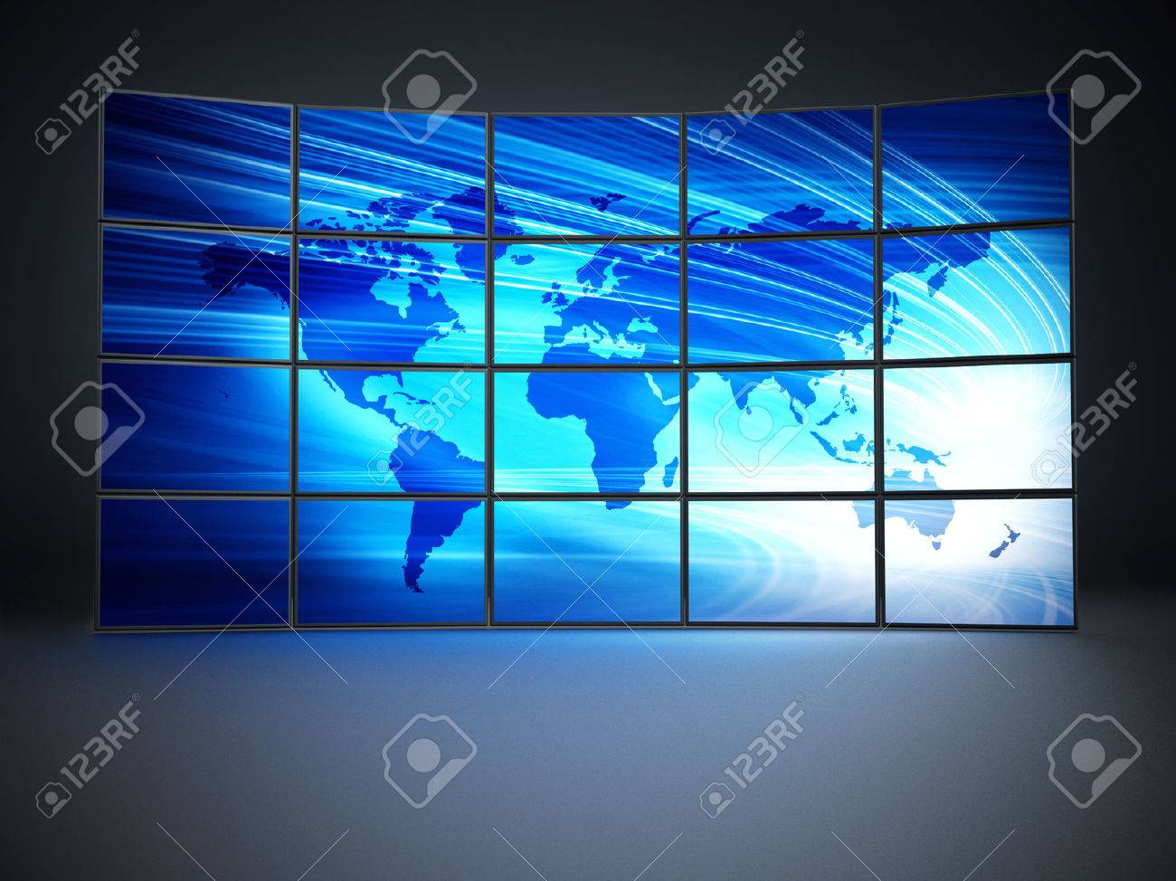 Screens with a blue world map forming video wall Stock Photo - 43151514