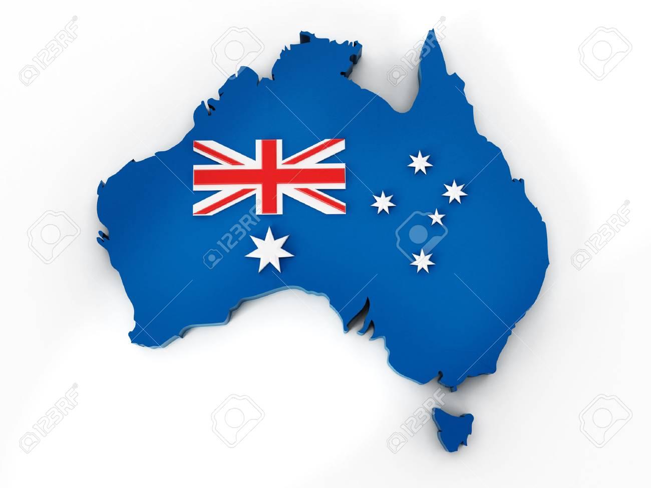 Carte Australie Drapeau.Australie Carte Et Le Drapeau Isole Sur Fond Blanc