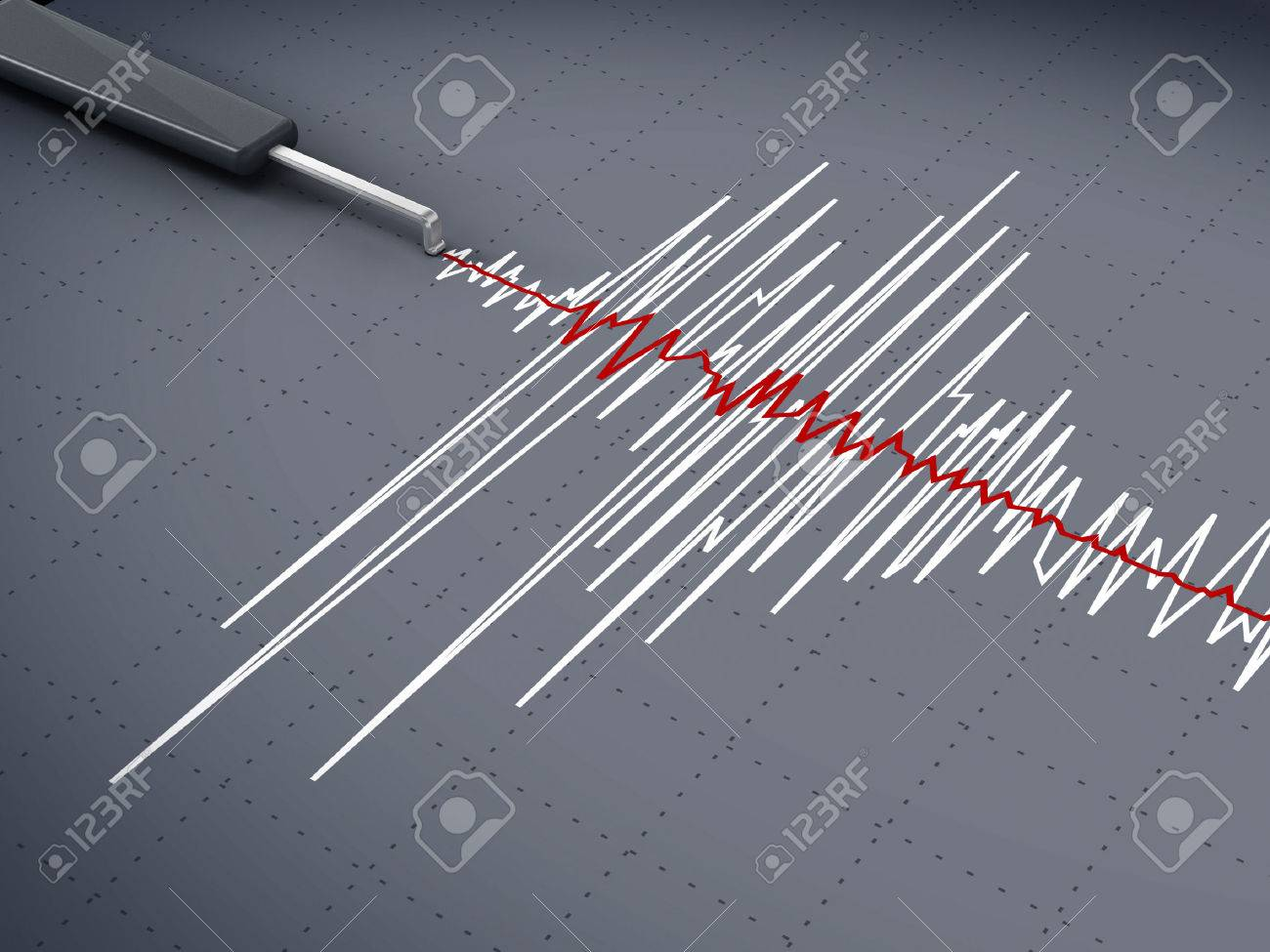 Seismic activity graph showing an earthquake. Stock Photo - 43581425