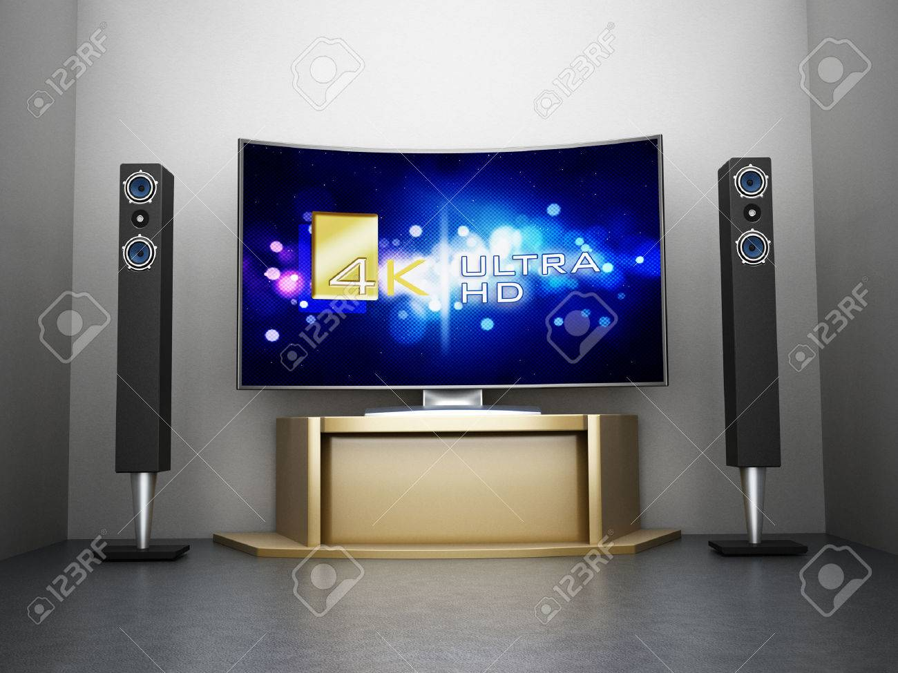 Ultra HD Curved TV with home theater system in the room Stock Photo - 43572533