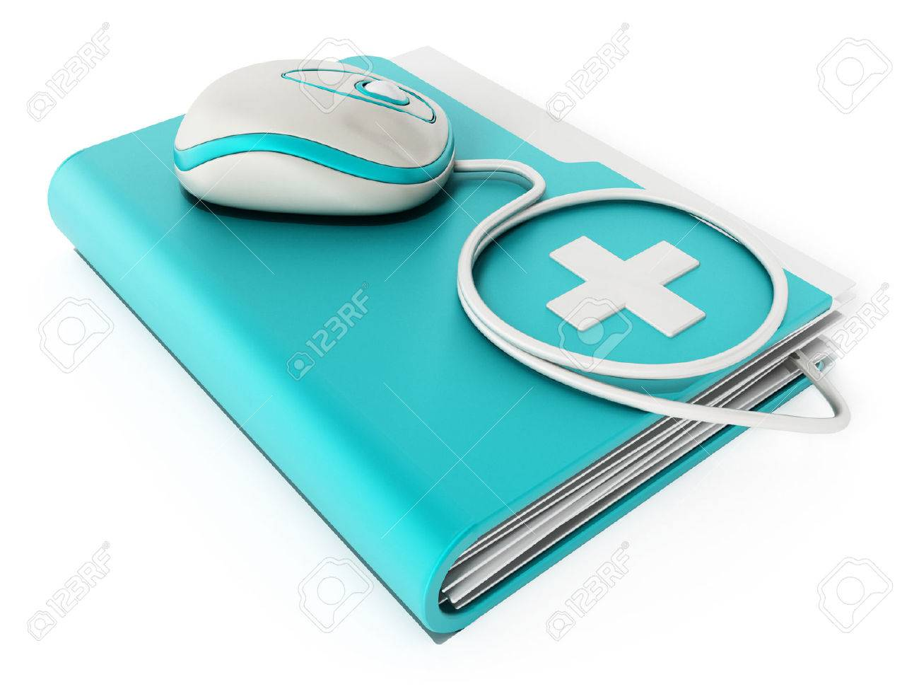 Computer mouse standing on medical folder Stock Photo - 44254003