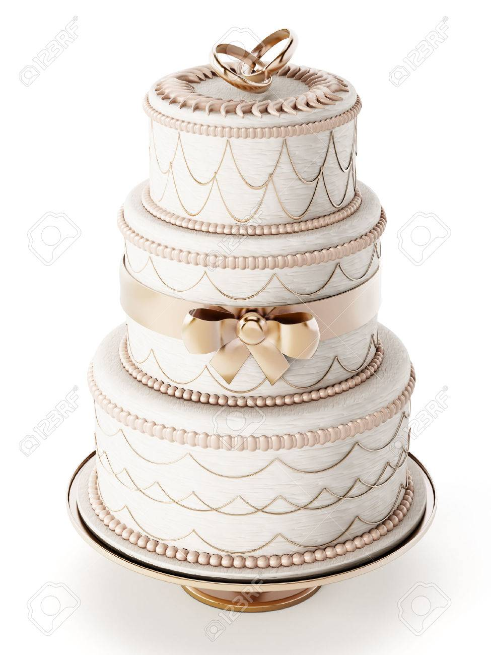 Wedding cake isolated on white background Stock Photo - 44709491