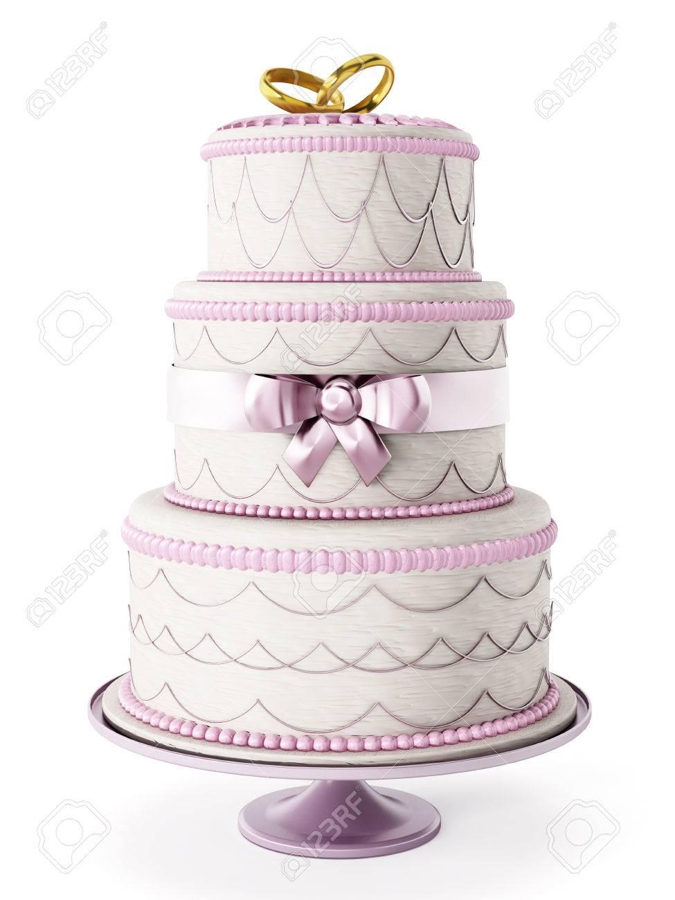 Wedding cake isolated on white background Stock Photo - 44709509
