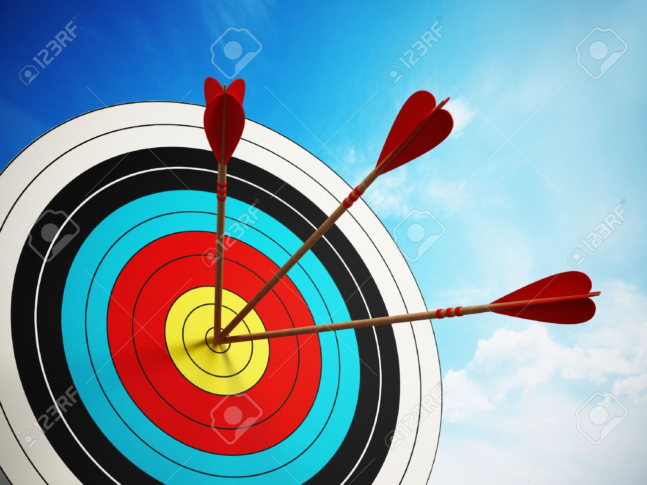Three arrows at the center of the target. Stock Photo - 45054162