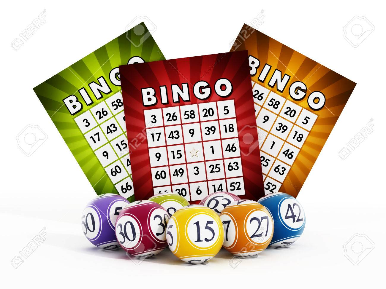 Bingo card and balls with numbers isolated on white background Stock Photo - 48053002