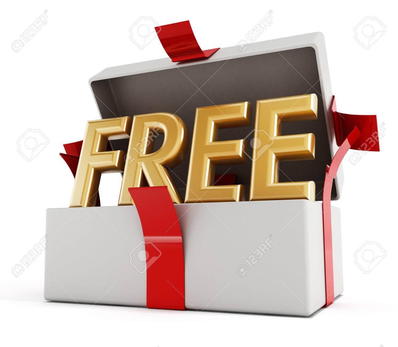 Freies Wort Innen Halb Offen Geschenk Paket Isoliert Auf Weissem