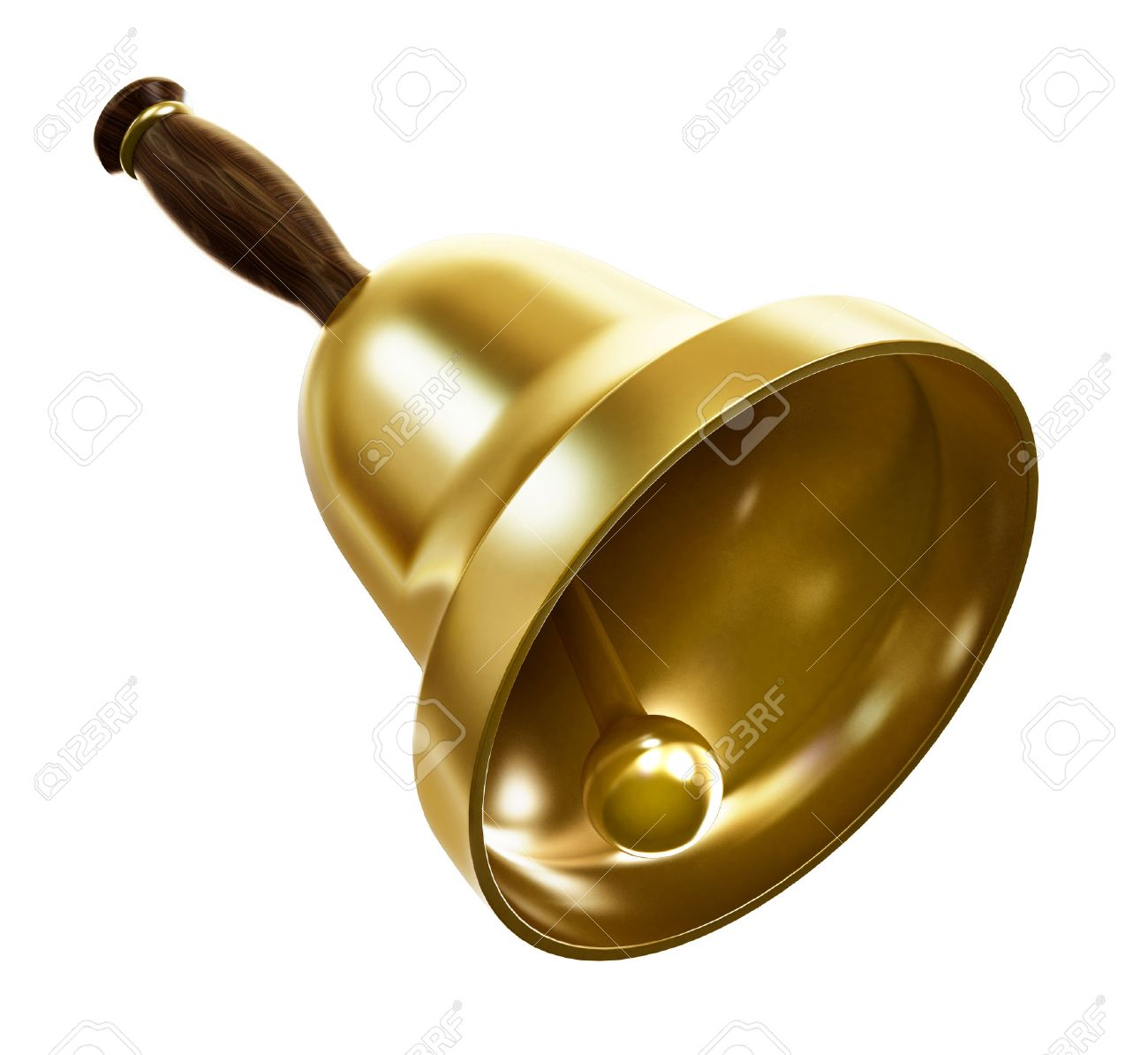Gold school bell isolated on black background Stock Photo - 48931911