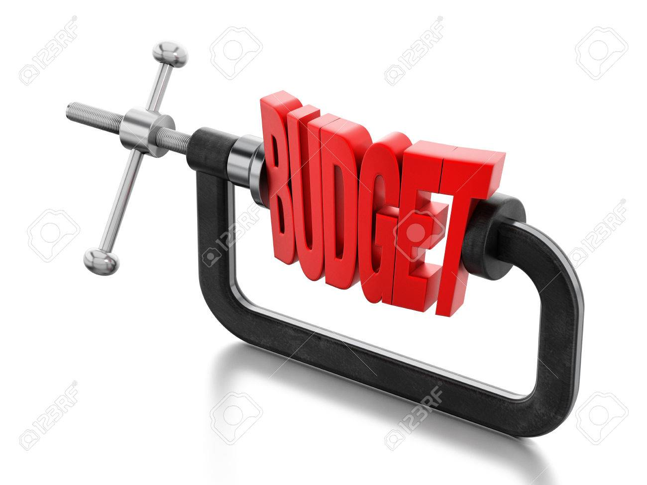 Red budget word clamped inside the vice. Stock Photo - 49108117