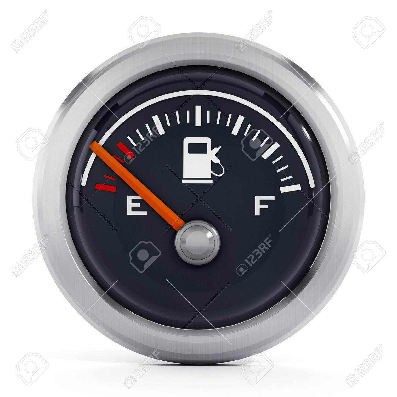 Fuel gauge with orange needle pointing empty Stock Photo - 50228587