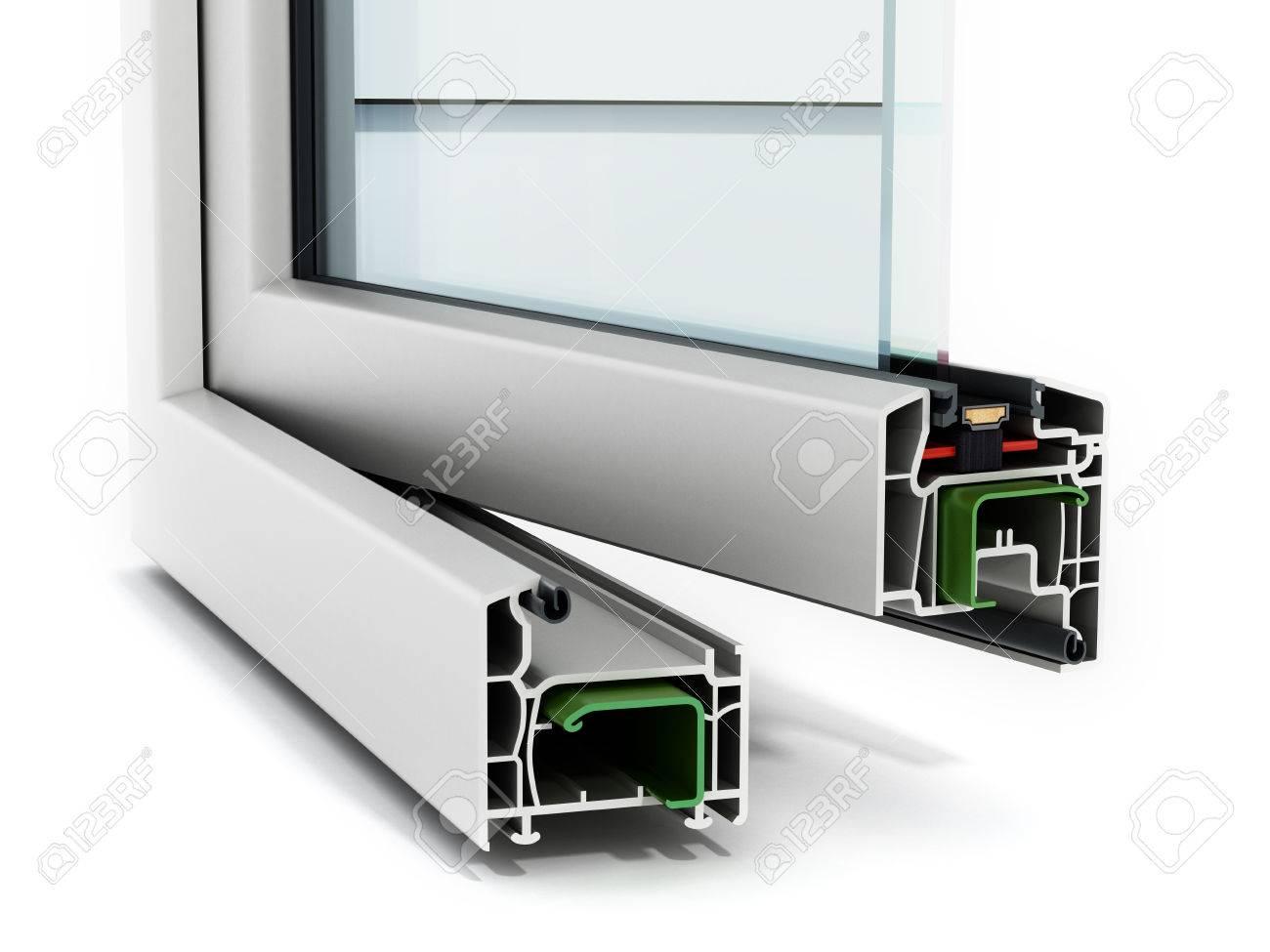 PVC Fenster Detail Isoliert Auf Weißem Hintergrund Lizenzfreie Fotos ...