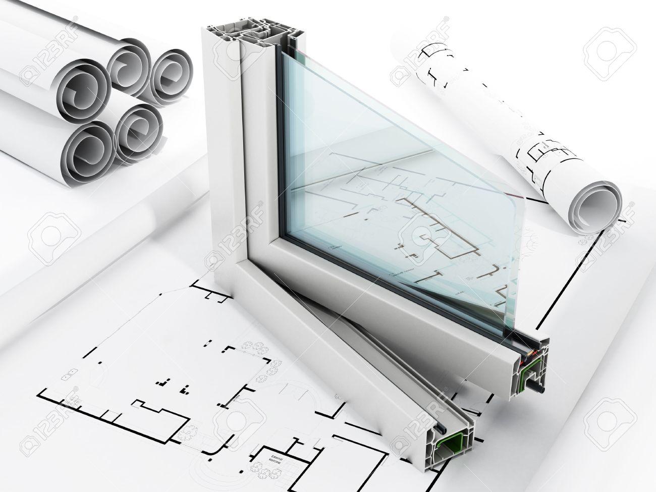 PVC window detail isolated on white background Stock Photo - 50642912