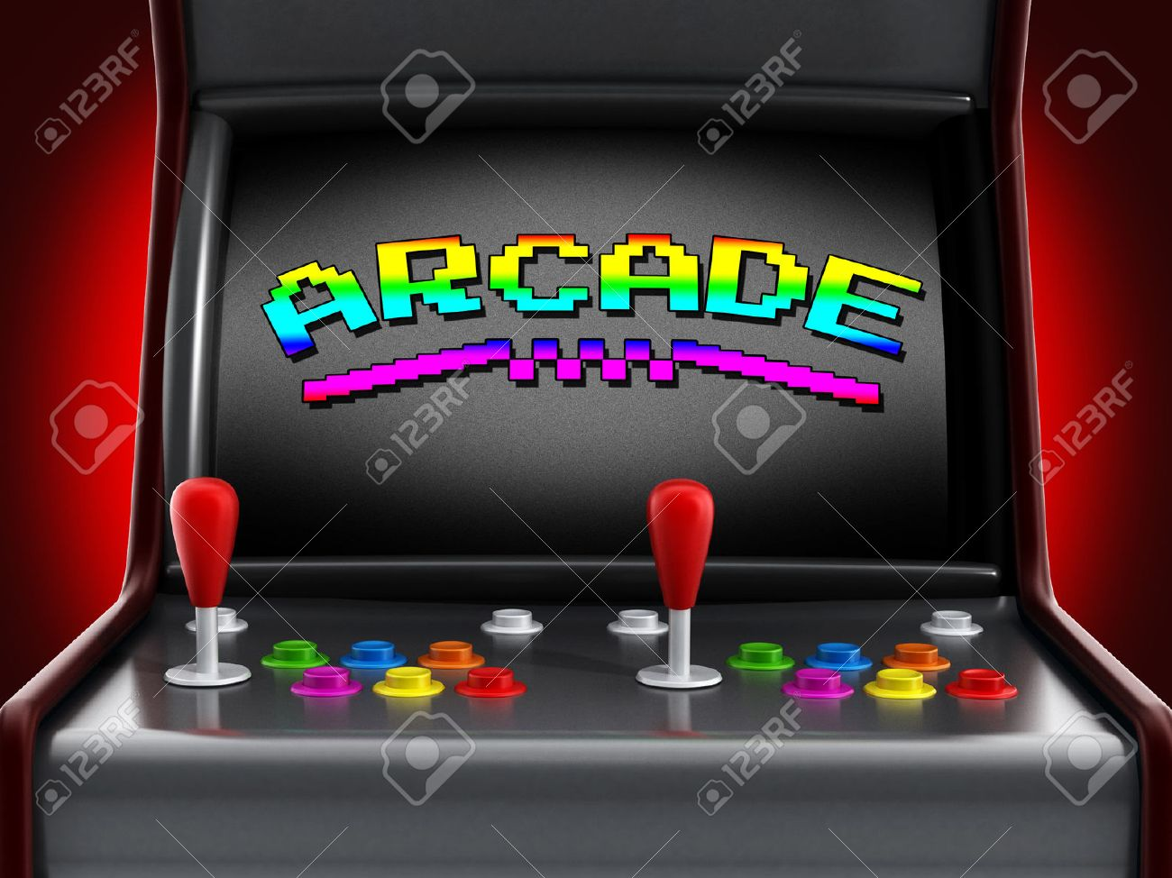 Vintage arcade machine with two joysticks and push buttons for people. Stock Photo - 50824143