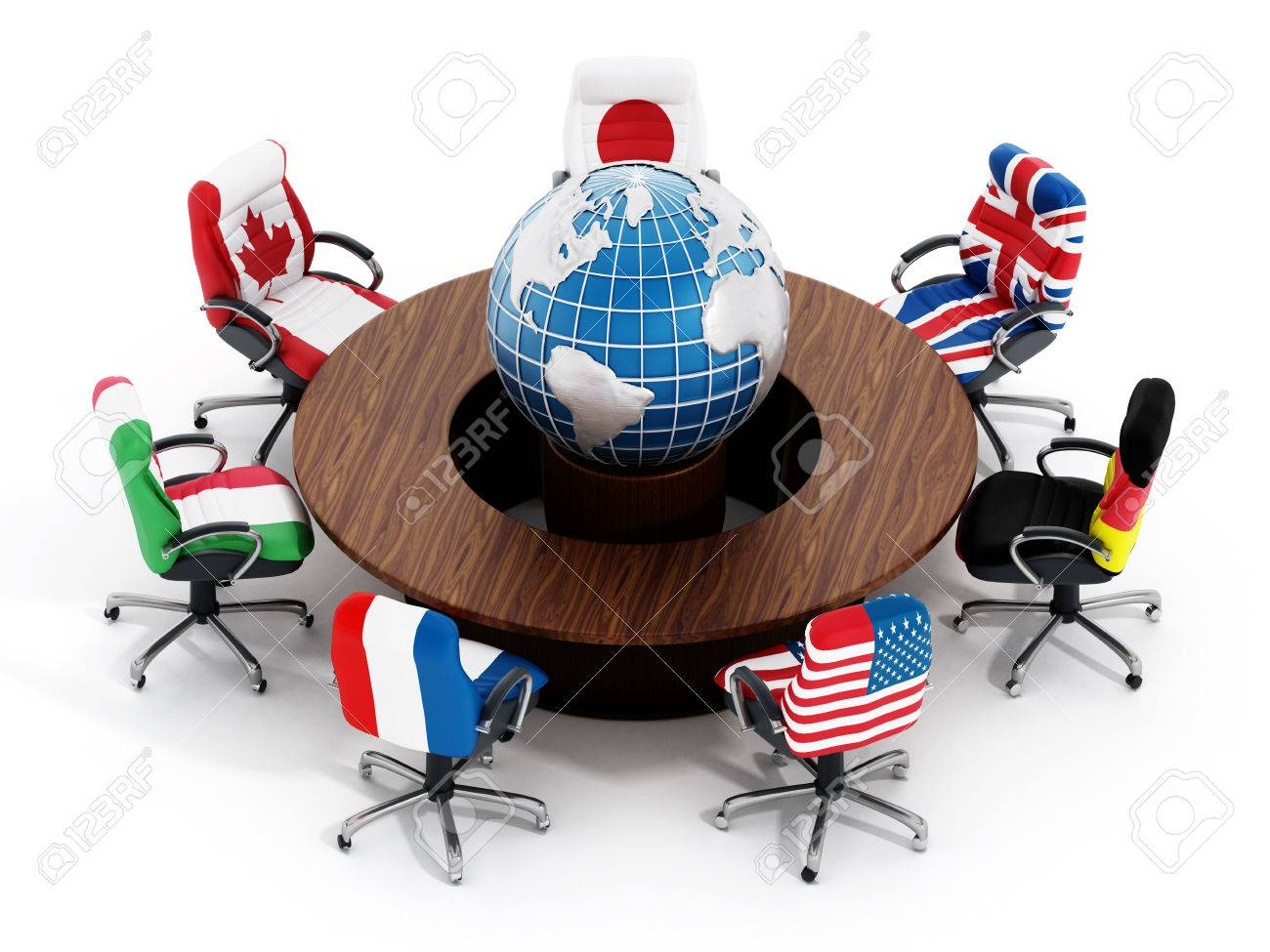 globe office chairs. G7 Country Flags On Office Chairs Around Table Wth Globe Isolated White Background Stock Photo S