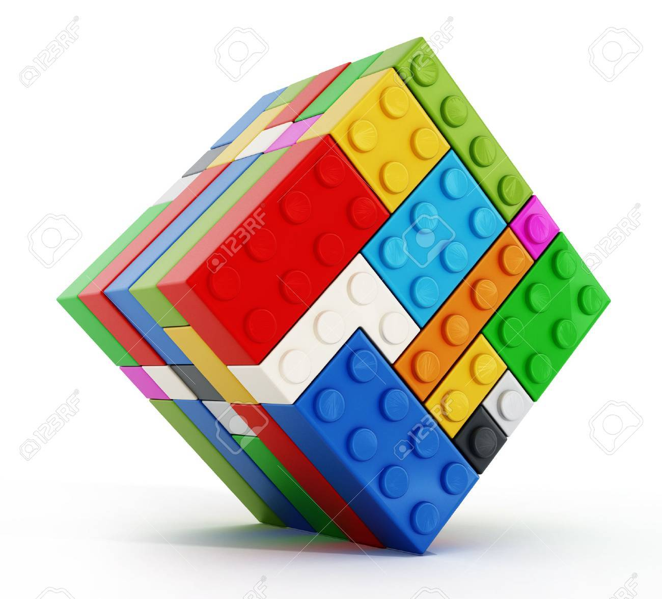 Multi colored toy blocks cube isolated on white background - 53585319