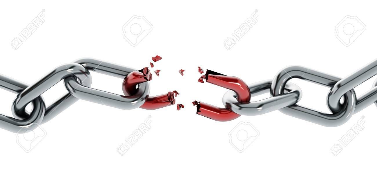 Chain with broken red part isolated on white background Stock Photo - 53585360