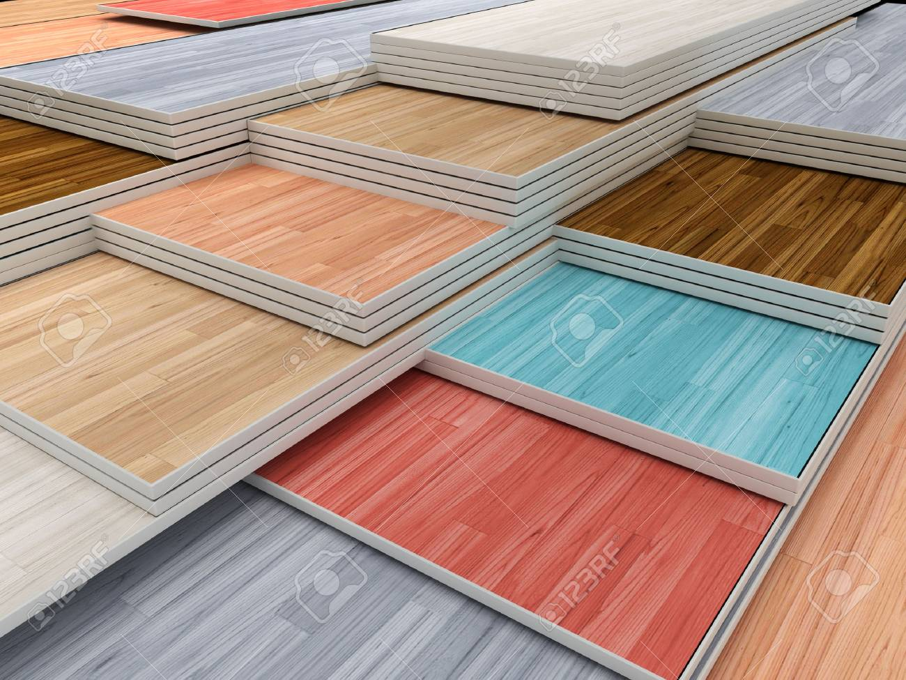 Multi Colored Parquet Flooring Boards With Various Textures Stack Stock Photo 55619213