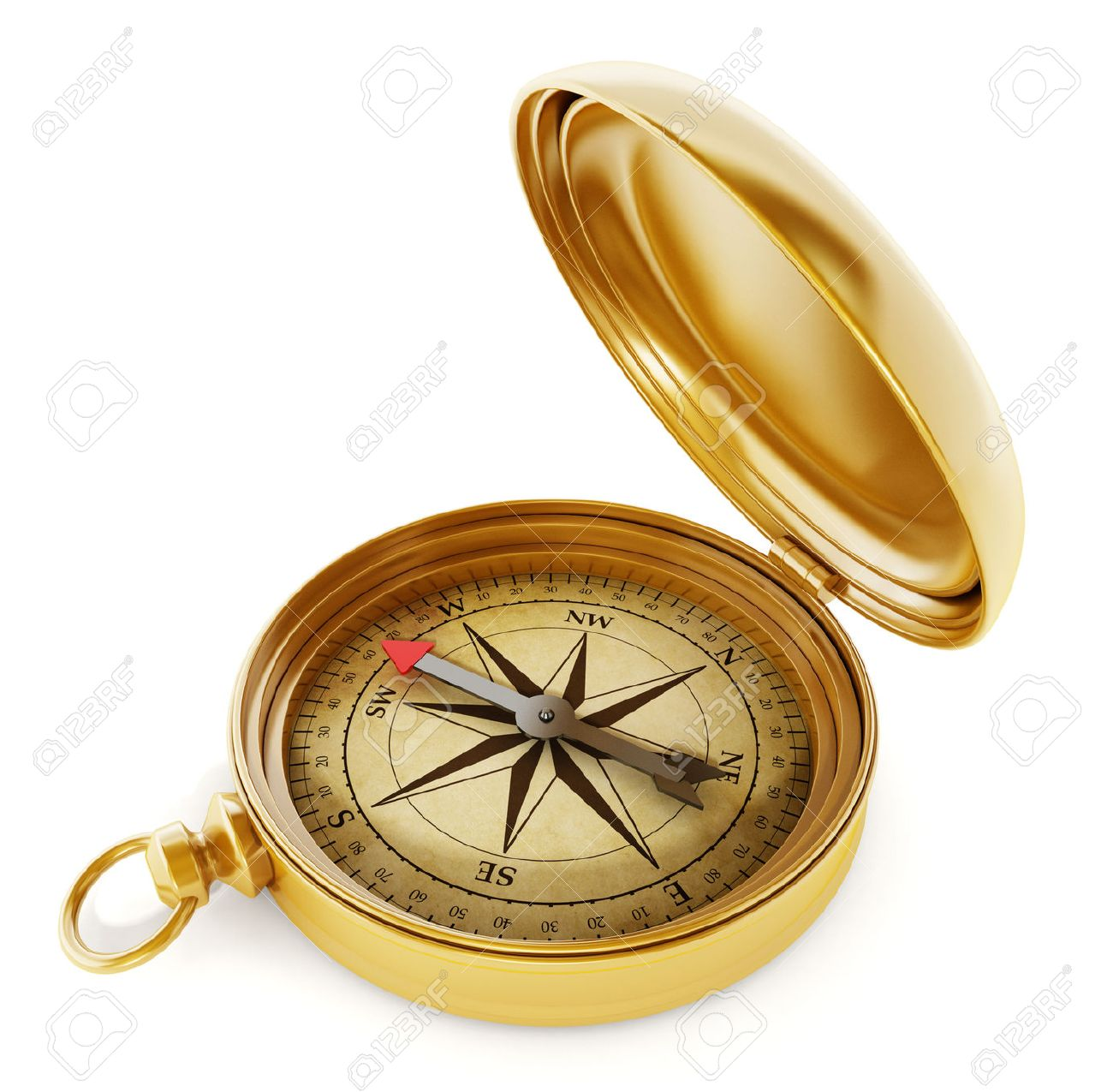 Vintage compass standing on old world map Stock Photo - 55634343