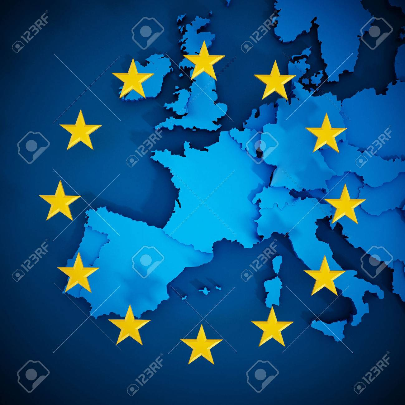 European Union map and aligned stars in circle shape forming a flag. Stock Photo - 55635729