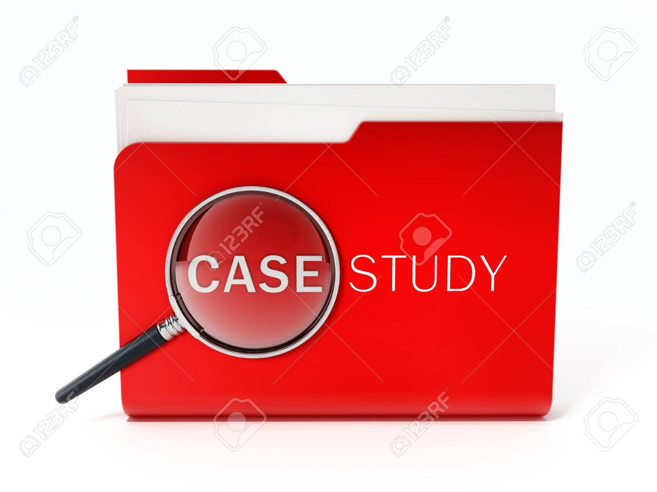 Case study text under magnifying glass standing on red folder. 3D illustration. Stock Illustration - 59003370