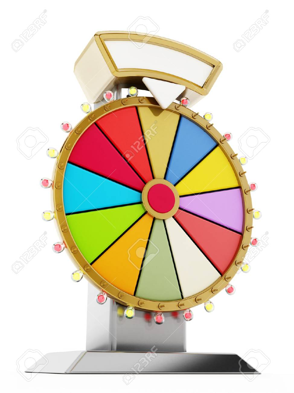 Wheel of fortune isolated on white background. 3D illustration. - 61035750