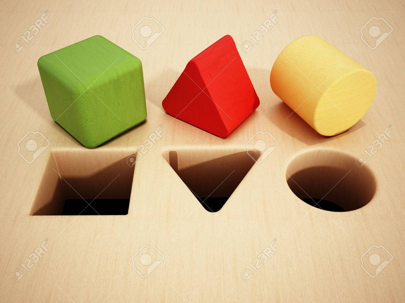 Cube, prism and cylinder wooden blocks in front of holes. 3D illustration. Stock Illustration - 61035756