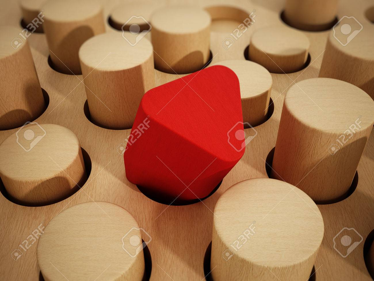 Red prism wooden block standing out among wooden cylinders. 3D illustration. Stock Illustration - 61035758