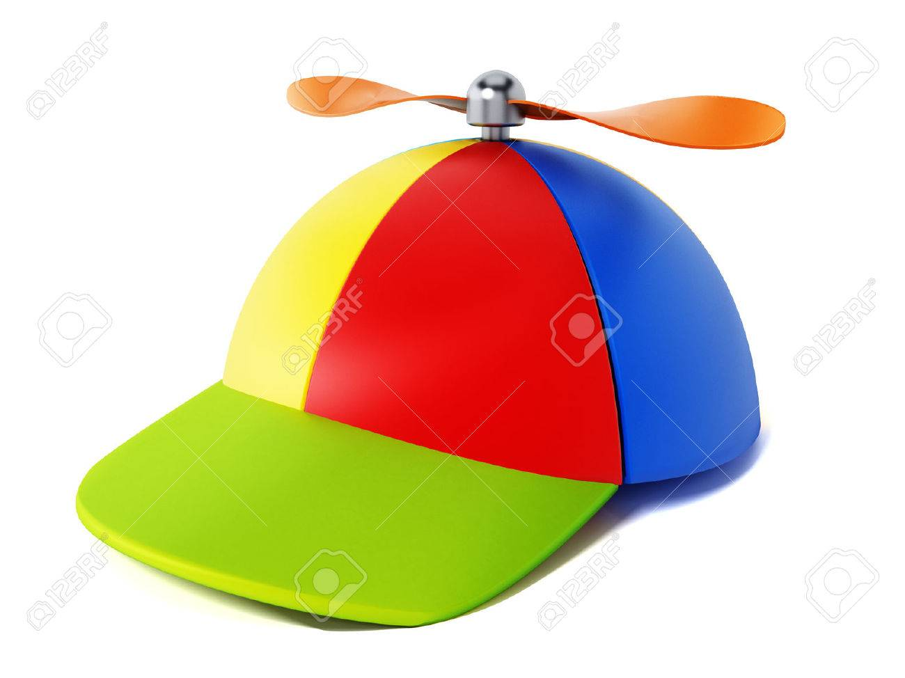4105e60b90fc3 Illustration - Multi colored hat with propeller isolated on white  background. 3D illustration.