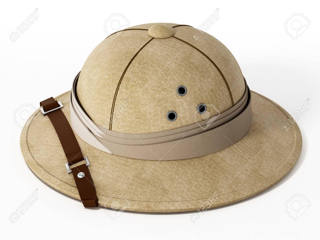 Foto de archivo - Sombrero de explorador de la vendimia aislado en el fondo  blanco. Ilustración 3D. 8881c8b2083