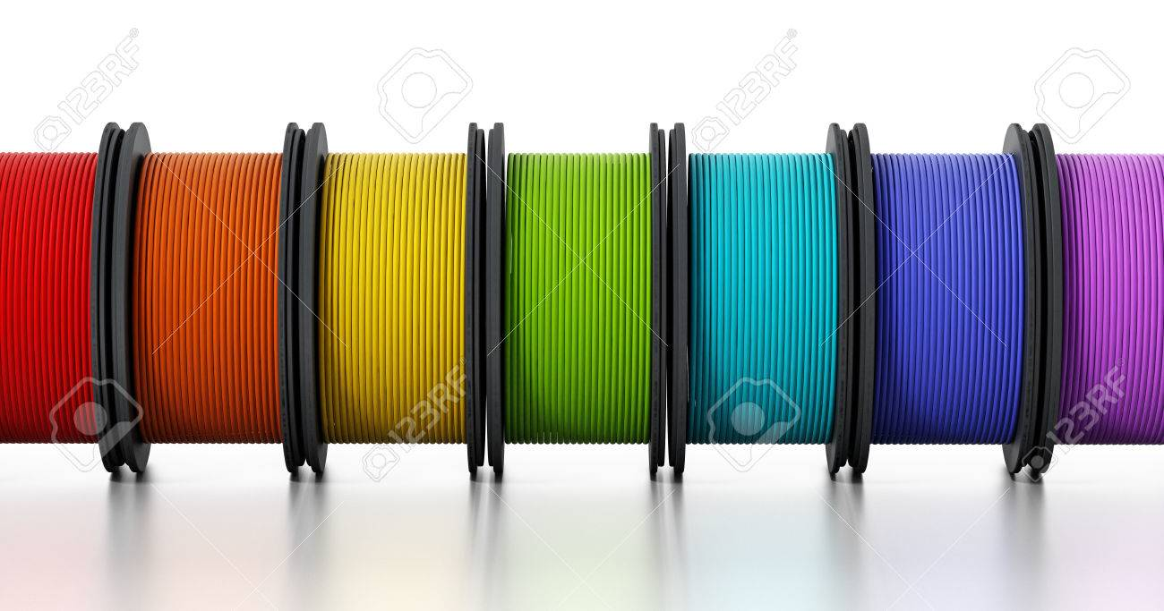 3D printer filaments isolated on white background. 3D illustration. Stock Illustration - 66254587
