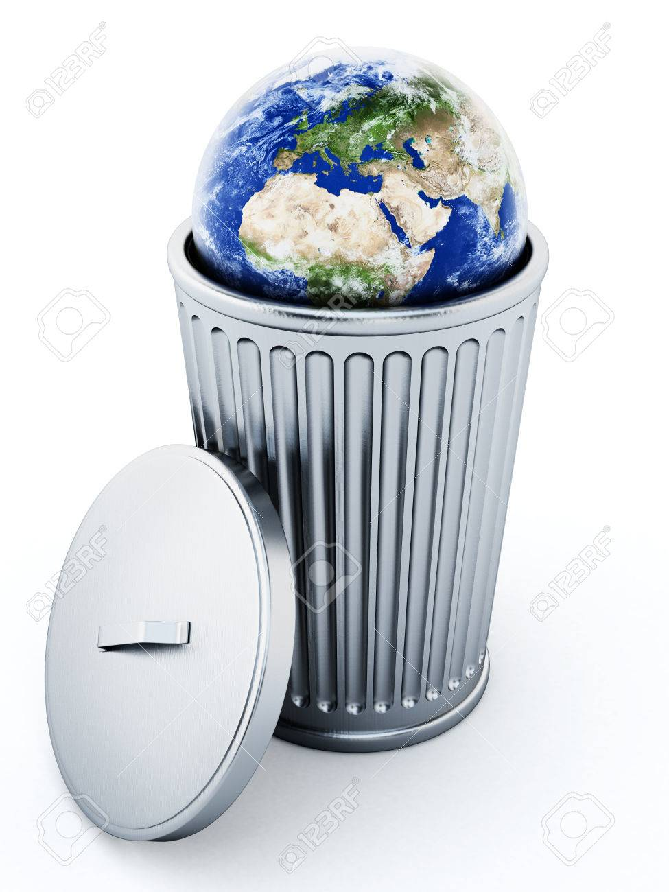 Stock Photo Trash Can With Rubish And Earth Waste