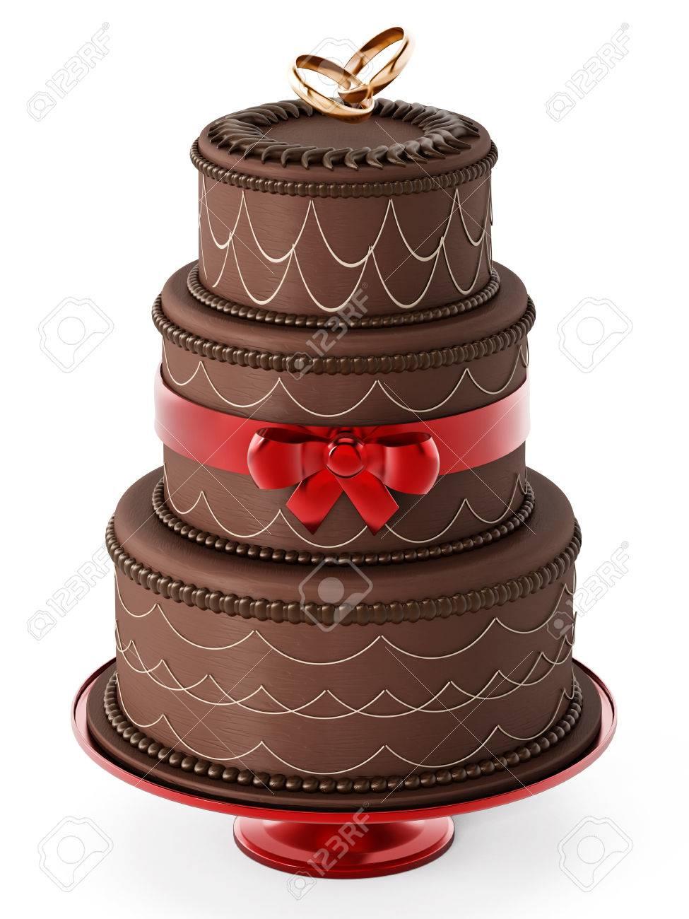 Gâteau De Mariage Au Chocolat Isolé Sur Fond Blanc Illustration 3d