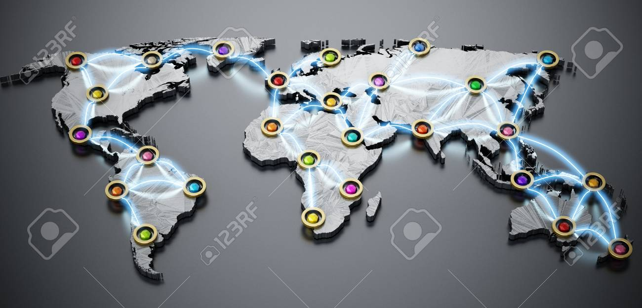 Flight or internet network on 3d world map 3d illustration stock flight or internet network on 3d world map 3d illustration stock illustration 82101042 sciox Choice Image