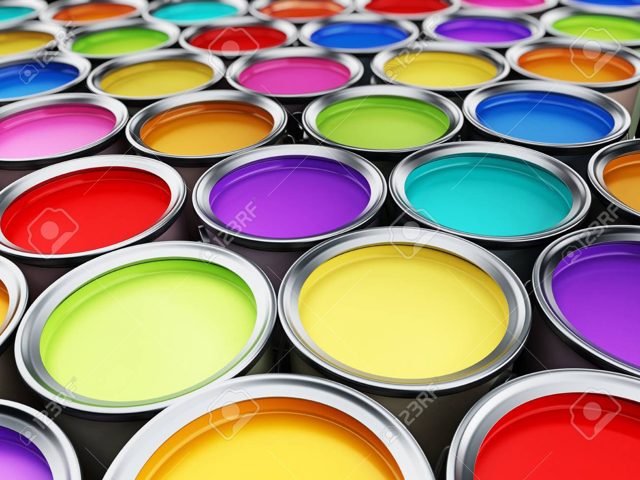 multi colored paint cans background 3d illustration stock photo
