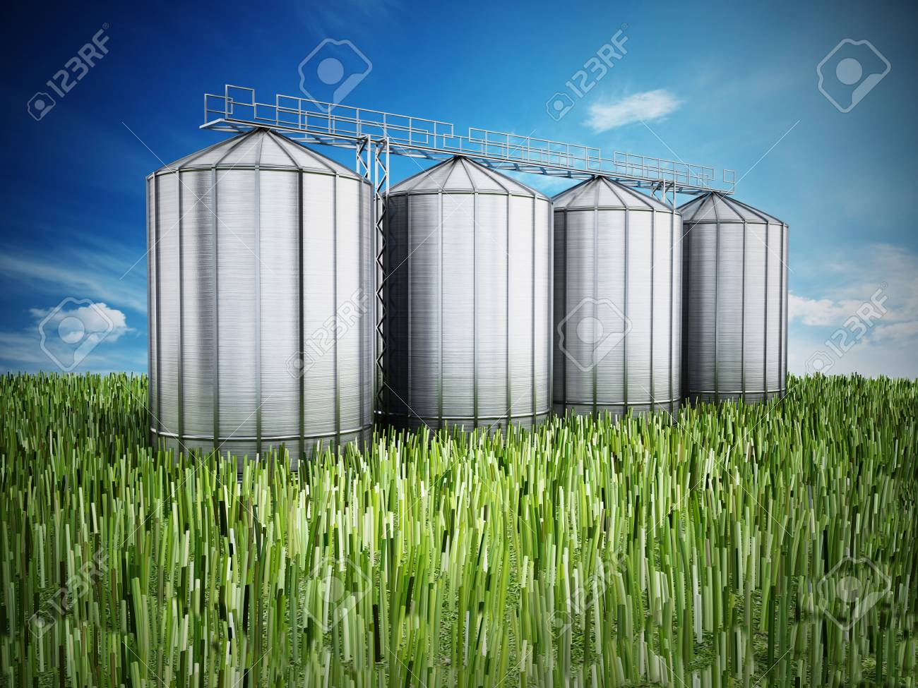 Agriculture Grain Silos On Grass Under Blue Sky  3D