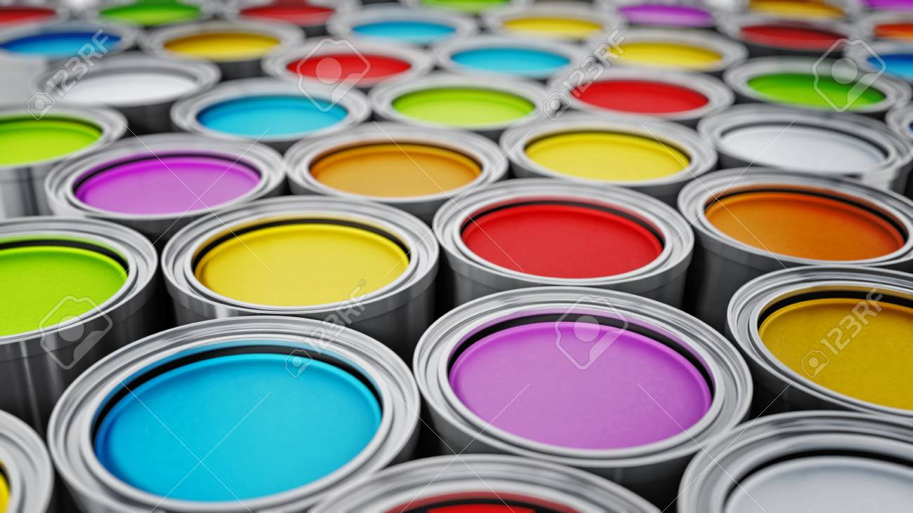 vibrant colored paint cans background 3d illustration stock photo
