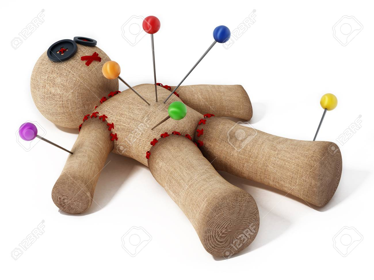 Voodoo Doll With Needles Isolated On White Background. Stock Photo, Picture And Royalty Free Image. Image 98756680.